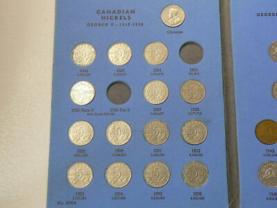 🍁 1922 to 1960 Canada 5 Cents Whitman Album 44 Coins Missing 2 #4078
