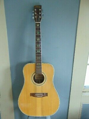 VINTAGE ATLAS ACOUSTIC GUITAR w GREEN ABALONE INLAY