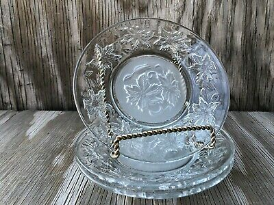Princess House Dishes Fantasia Clear Small B&B Or Dessert Plates Set Of 3 Frost