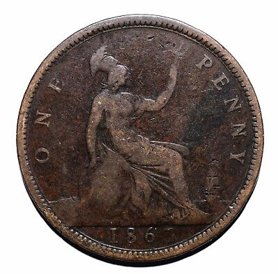 1863 United Kingdom (UK) One 1 Penny - Victoria 2nd portrait