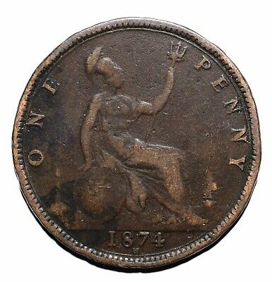 1874 United Kingdom (UK) One 1 Penny - Victoria 2nd portrait