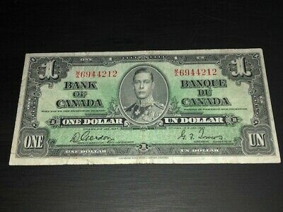1937 $1 Dollar Bank of Canada Banknote