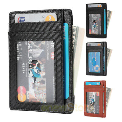 Front Pocket Wallet Leather RFID Blocking ID Slim Credit Card Holder Men's Gift