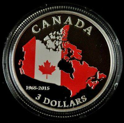 2015 Canada $3 Dollar 1965-2015 50th Anniversary of Canadian Flag Silver coin