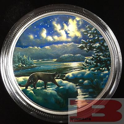 2017 Canada $30 Cougar- Animals in the moonlight 2oz 99.99% pure silver
