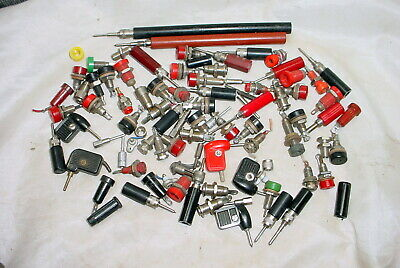 90 Piece Collection Pin Jacks & Plugs Probes Used and Unused
