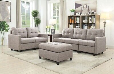 CONTEMPORARY SECTIONAL SOFA Set Couch Microsuede Reversible Chaise Gray Lot