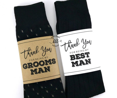 Thank You for being my Groomsman Wrapper Best Man Wedding Socks Wrapper Labels