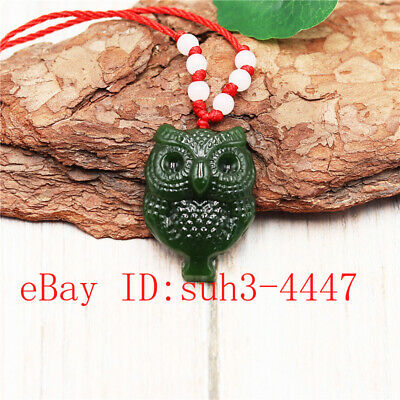 Green Owl Carved Jade Pendant Necklace Fashion Charm Jewelry Amulet Gifts