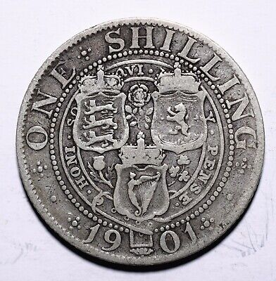 1901 UK One 1 Shilling - Victoria 3rd portrait; 'Old Head'