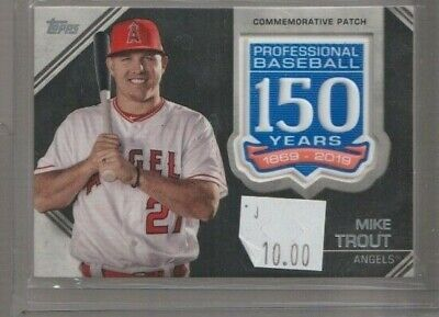 2019 Mike Trout Topps 150 Years Of Baseball Commemorative Patch Amp-Mt