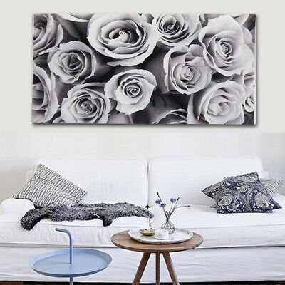 18x32'' Large Frameless Rose Black White Grey Canvas Wall Art Picture Decor