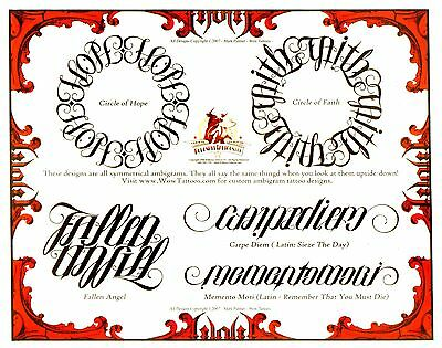 Tattoo Lettering Styles Flash On Dvd Cd 250 Sheets Fonts Bj Betts Ambigrams
