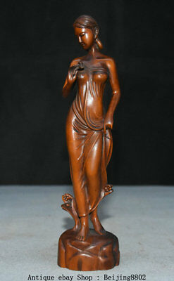 """7.6"""" Rare Old China Boxwood Wood Carving Sexy Beauty Belle Girl Goddess Statue"""