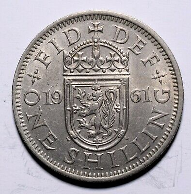 1961 UK One 1 Shilling - Elizabeth II Scottish shield; no 'BRITT:OMN'