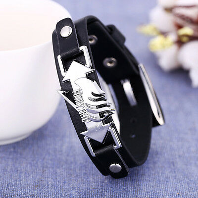 Anime Fairy Tail PU Leather Bracelet Wristband Watch Style Cosplay Prop Gift