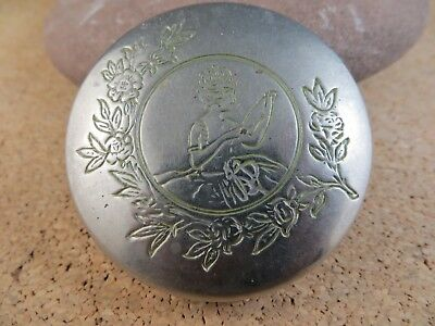 Antique Paris Jarvaise NY Victorian Lady Silver-tone Powder Compact Mirror #905