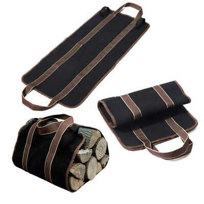 Canvas Heavy Duty Firewood Wood Carrier Log Camping Outdoor Holder Carry Bag