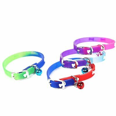 1PC Bone Pattern PU Leather Pet Dog Cat Collars With Bells Silicon Personalized