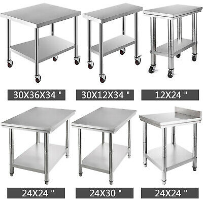 Stainless Steel Kitchen Benches Work Bench Food Prep Table w/ Wheels