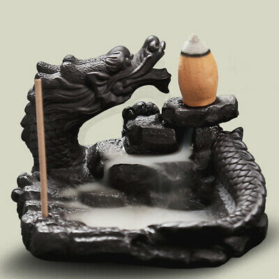 Ceramic Glaze Dragon Censer Backflow Incense Burner Waterfall Smoke Cone Sticks