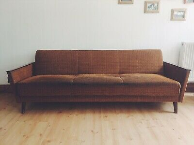 Rare Vintage Retro Mid Century Danish Sofa Bed 1960s Armchair Settee Couch