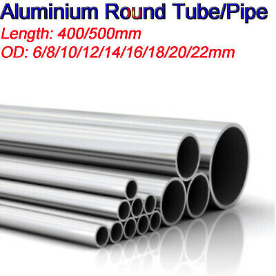 Aluminum 6063 Alloy Tube 400/500mm Long Round Straight Pipe Wall 2mm OD 6-22mm