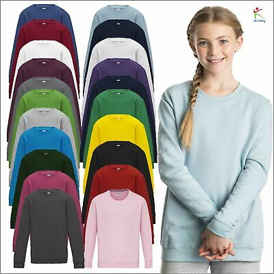 AWDis Kids Sweat Plain Unisex Sweatshirt Boys Girls Casual Top Jumper Sweater