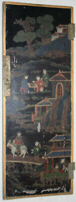 Chinese Late Qing 1890-1910 Lacquer Door Panel Hand Painted Outdoor Home Scenes