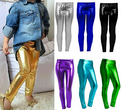 Girls Kids Metallic Wet Look Foil Shiny Legging Children Disco Party Leggings