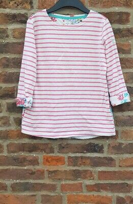 🔥🌈🌸⚓️ JOULES MARINERS GRADE JNR LAURA Pink Stripe Floral Back Top 11-12yrs ⚓️