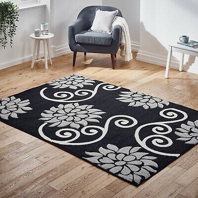 Modern Small Extra Large Carved Floral Black Grey Sale Budget Offer Rugs Ebay