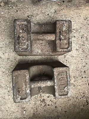 2 Vintage Rustic Industrial Cast Iron 56lb Pound Weight Door Stop Retro