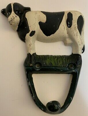 Vintage Cast Iron Hand Painted Cow Single Wall Hook RARE