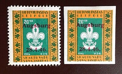 Lithuania 1946 Augsburg Refugee Camp Stamps Perf & Imperf MH