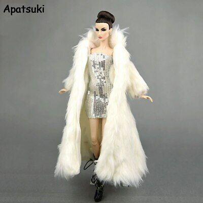 Doll Accessories For Barbie Doll Outfit Parka Dress Winter Super Long Fur Coat