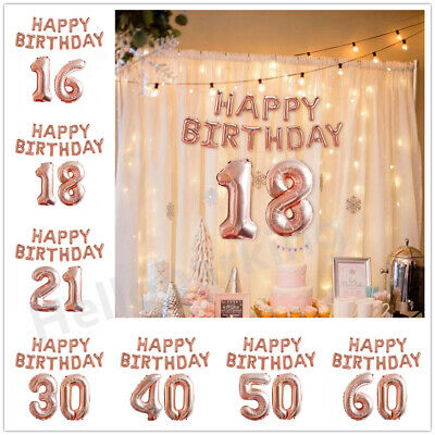 Rose Gold Happy Birthday Balloons Banner Bunting Hanging Set Helium Party Decor