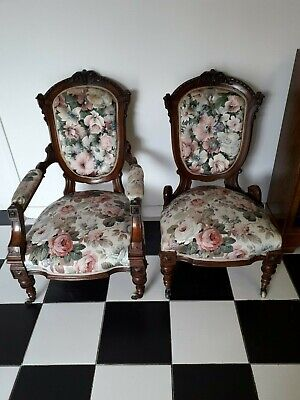 Outstanding Pair of Victorian carved walnut spoon backed chairs