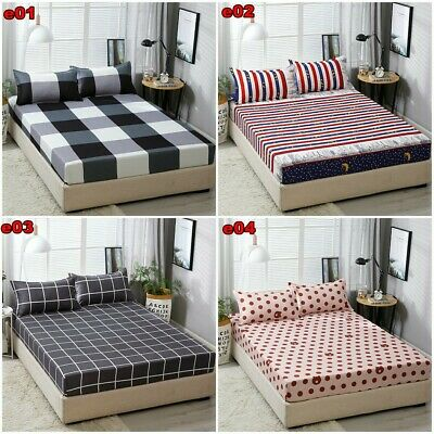 Wrap Around Elastic Fitted Sheet With Pillowcases Queen/King Size Bedding Soft
