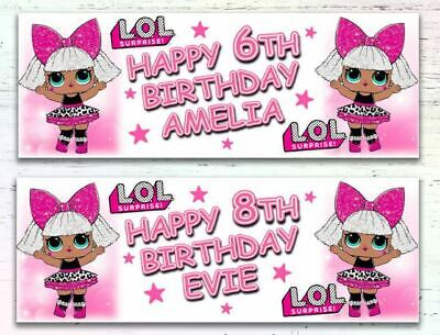 2 Personalised Lol Surprise Diva Doll Birthday Banners Any Age Any Name