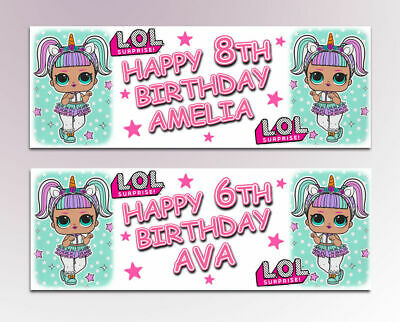 2 Personalised Lol Surprise Unicorn Birthday Banners Any Age Any Name
