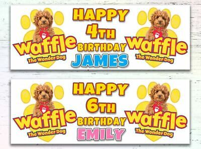 2 Personalised Waffle The Wonder Dog Birthday Banners Any Age Any Name