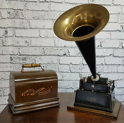 Phonograph GEM Model A Edison Bell + 5 cylinders (Phonographenwalzen)