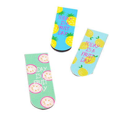 3 Pcs Kawaii Cute Fruit Ice Cream Magnetic Bookmarks Books Marker Of Page S P9E2
