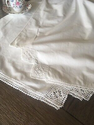 Vintage Handmade Cotton Pillowcase Pair With Crocheted Lace
