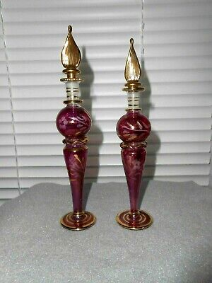 Egyptian Cranberry Blown Glass/Hand Painted Floral Etched Perfume Bottles (2)