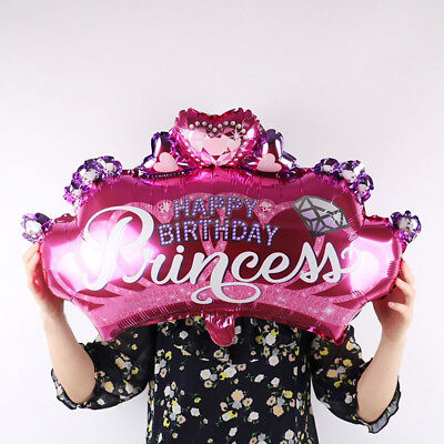 ALS_ KE_ Kids Favors Birthday Party Supplies Inflatable Crown Shape Foil Balloon
