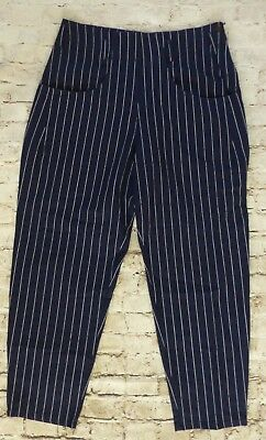 Urban Outfitter Navy Blue & White Pinstriped Pants Women's Size 11/12 Linen