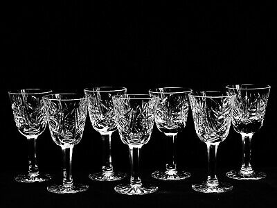 "7 Brilliant Waterford Crystal ""Clare"" (Cut) Cordial Glasses ~ Made In Ireland"