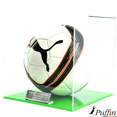 Perspex Football display case - Green base